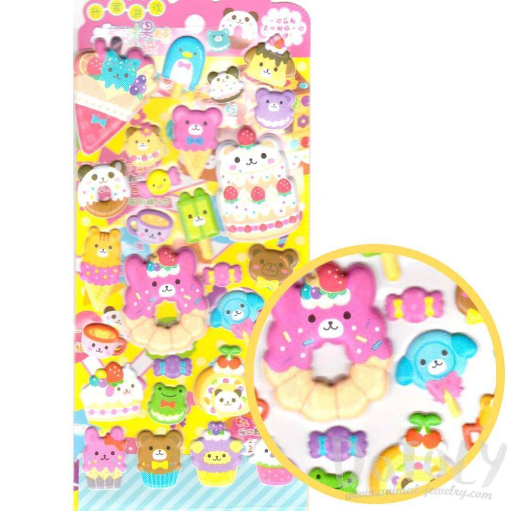 Dessert Sweets Food Themed Bear Anima Shaped Puffy Stickers