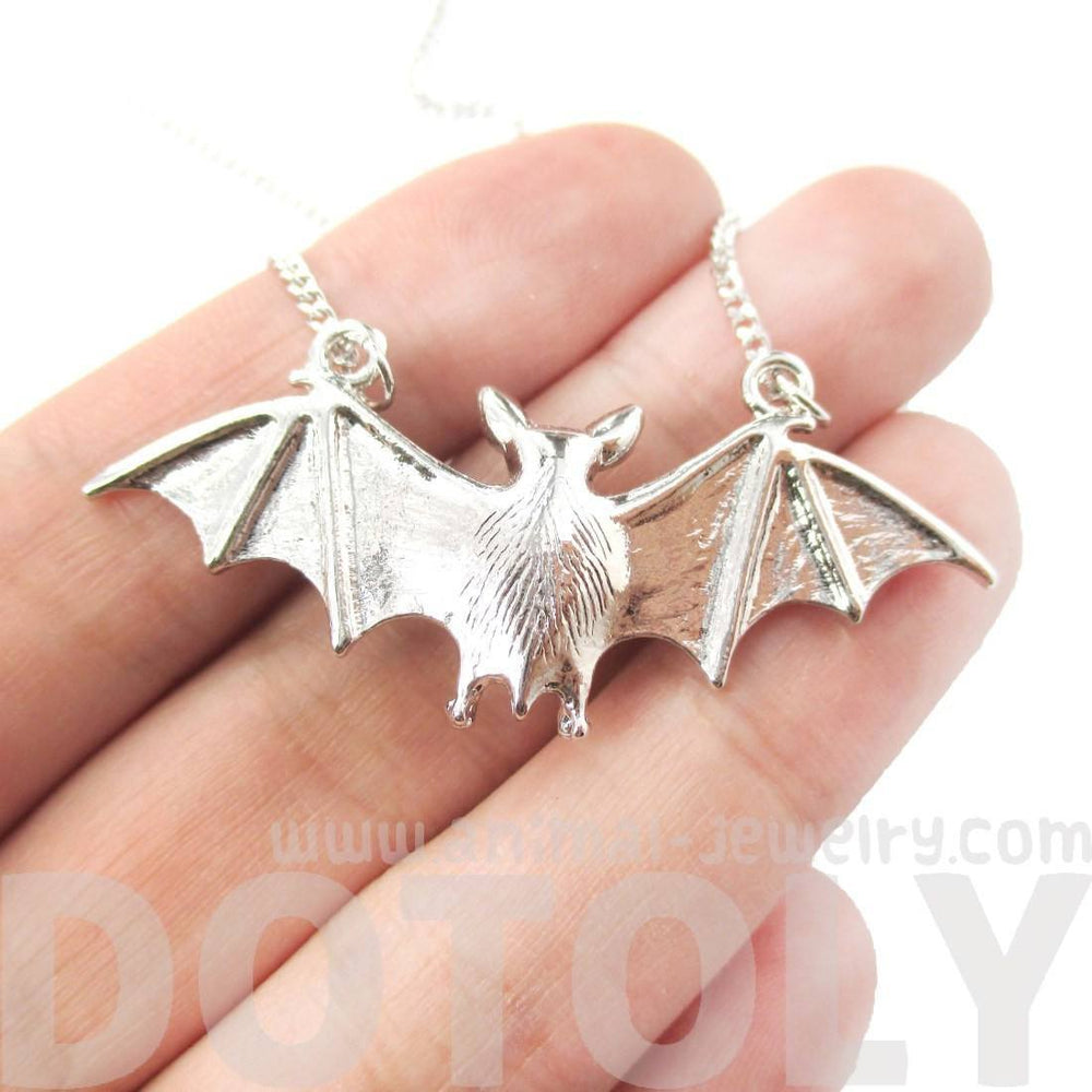 Detailed Bat Shaped Animal Pendant Necklace in Shiny Silver | DOTOLY