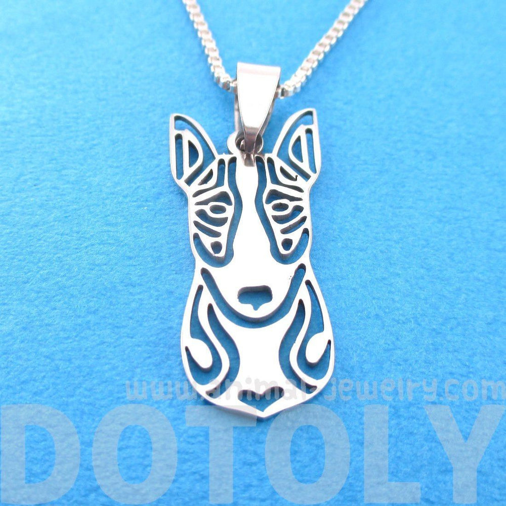 Bull Terrier Shaped Cut Out Pendant Necklace in Silver