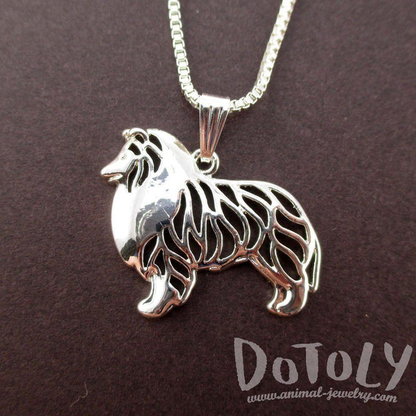Collie Shetland Sheepdog Shaped Cut Out Pendant Necklace