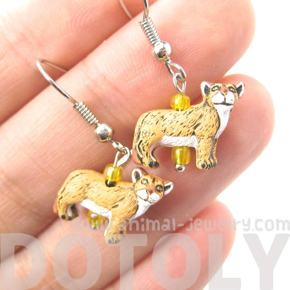 Cougar Mountain Lion Shaped Porcelain Ceramic Animal Dangle Earrings