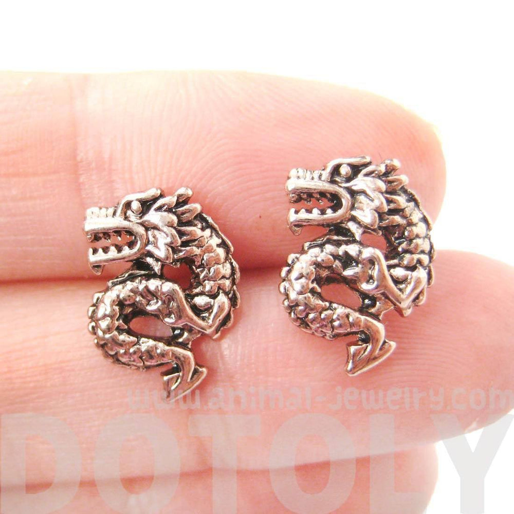 Detailed Dragon Shaped Animal Themed Stud Earrings in Rose Gold