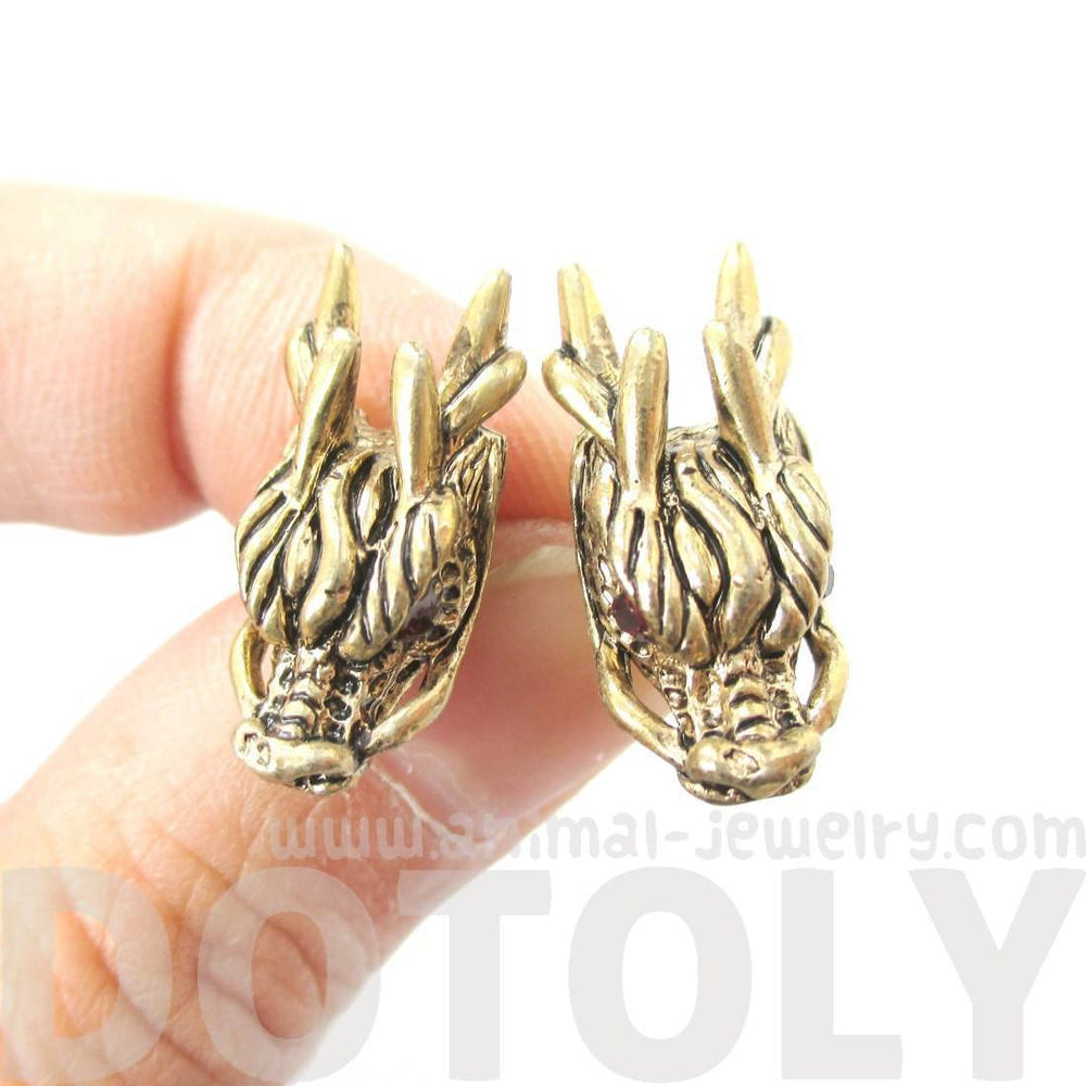 Detailed Dragon Head Shaped Stud Earrings in Gold with Rhinestones