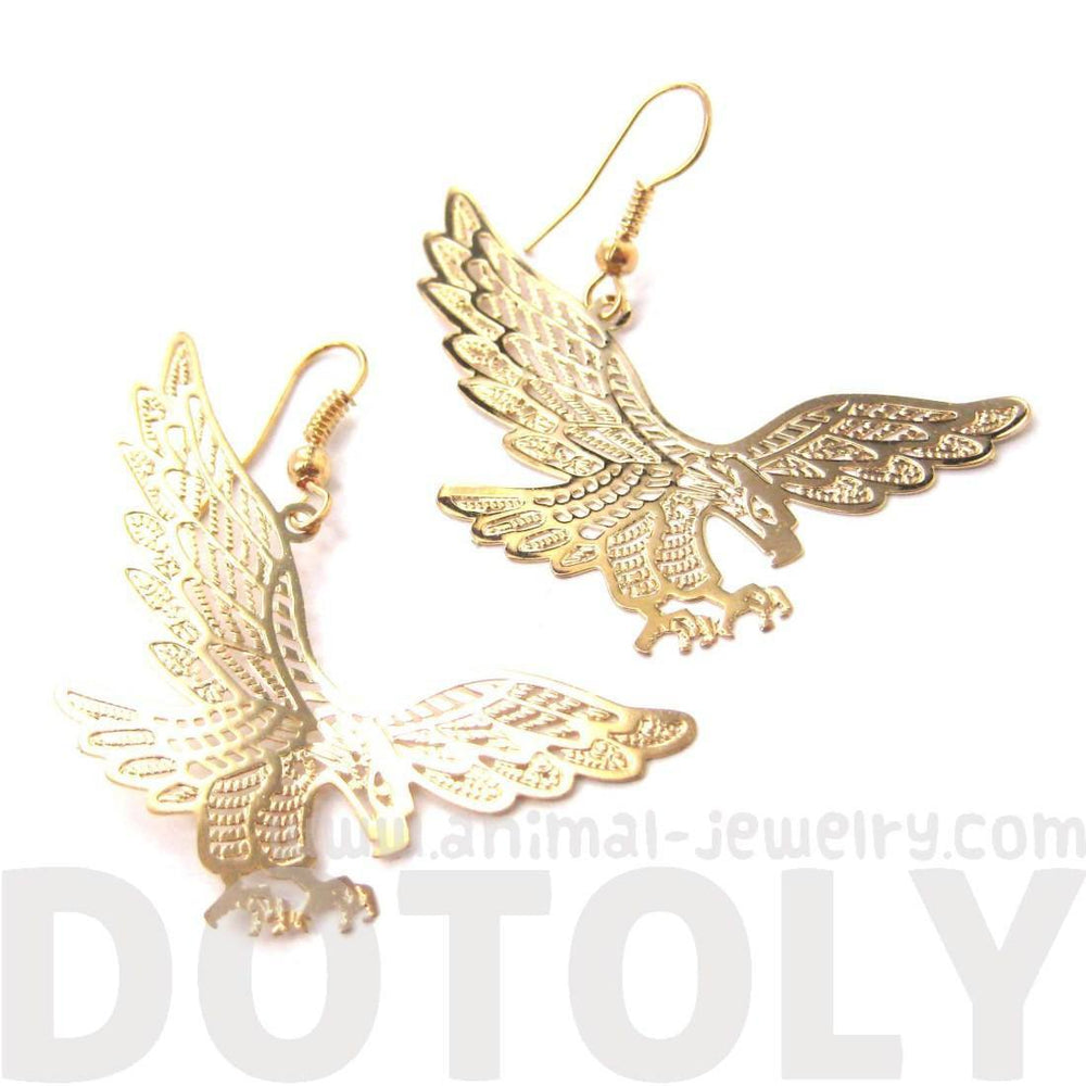 Detailed Eagle Hawk Bird Shaped Dangle Earrings in Gold | DOTOLY
