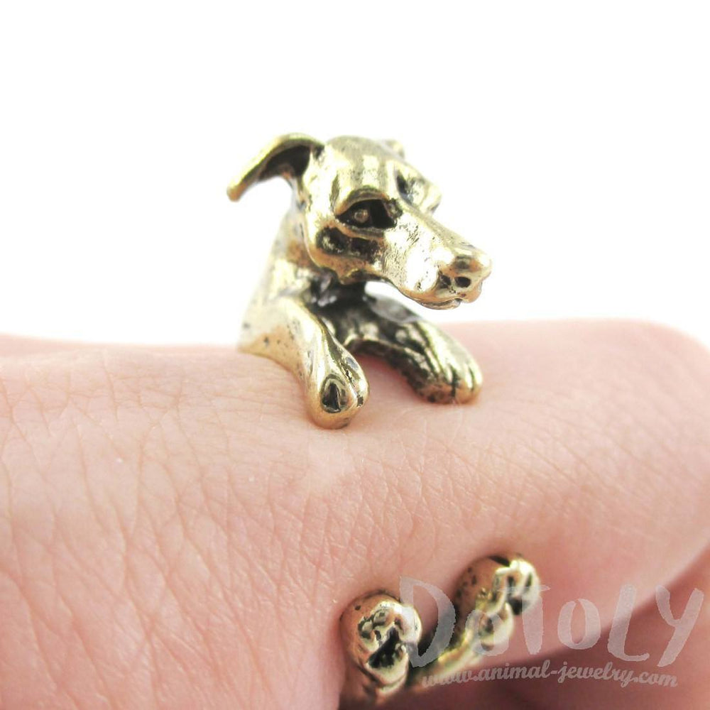 Greyhound Dog Shaped Animal Wrap Around Ring in Brass