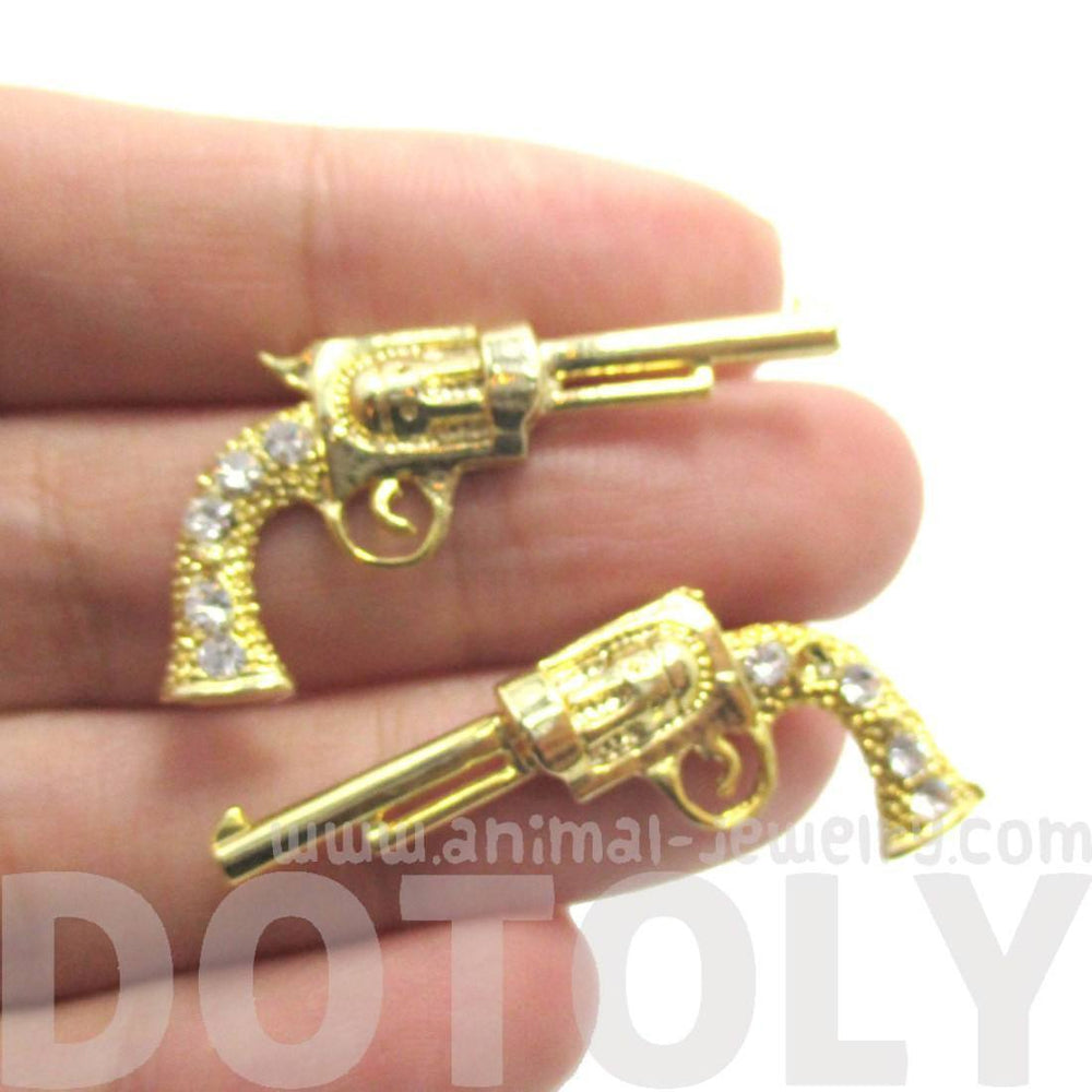 Gun Pistol Shaped Stud Earrings in Gold with Rhinestone