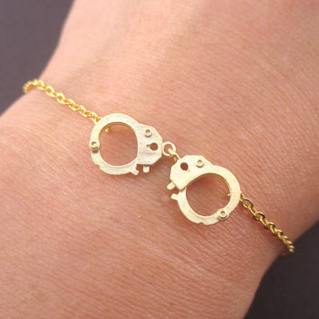 Small Realistic Handcuff Charm Bracelet in Silver or Gold