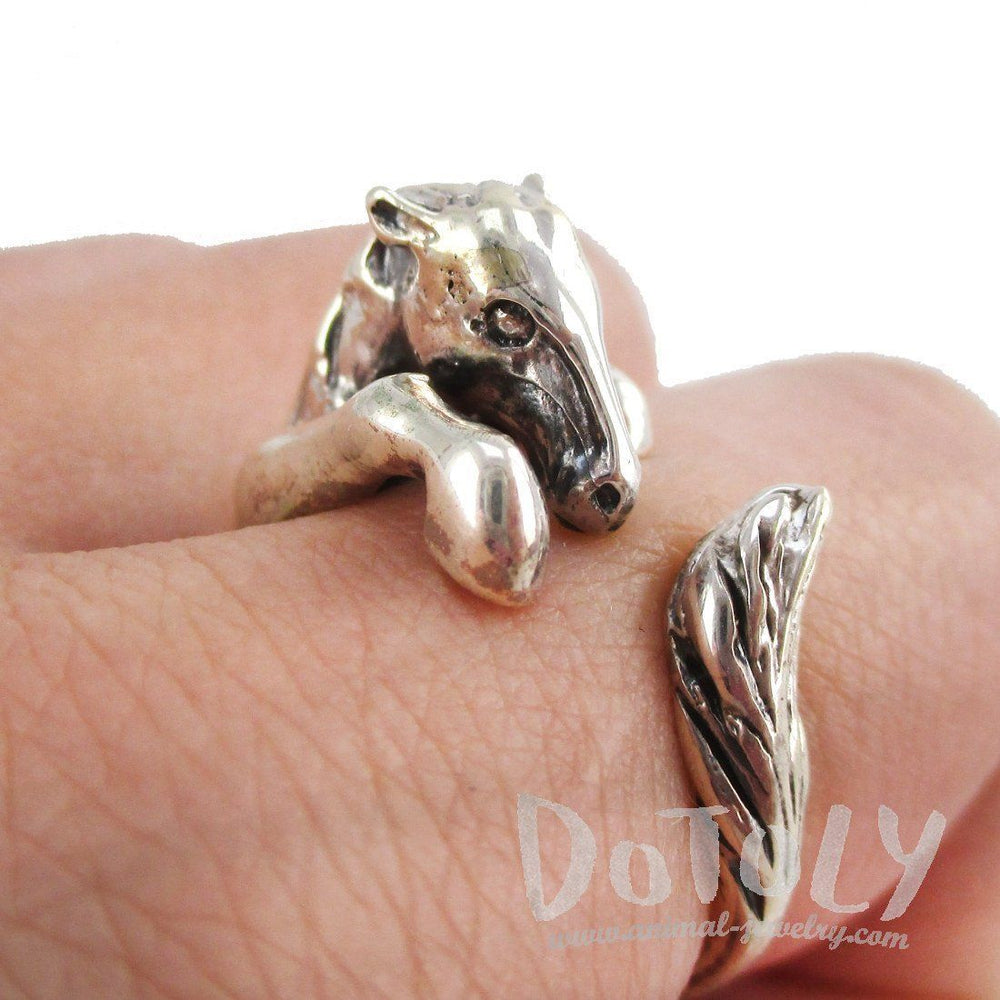 Detailed Horse Pony Animal Wrap Around Ring in 925 Sterling Silver