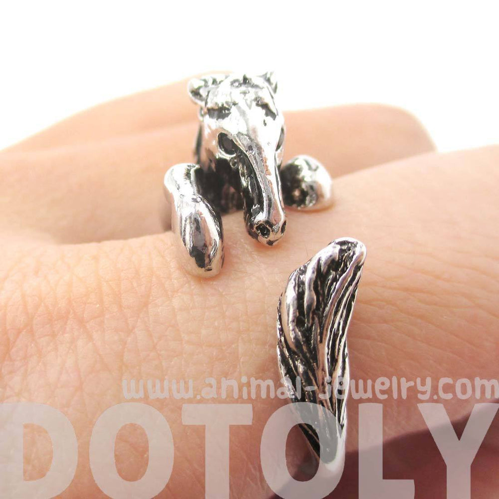 Detailed Horse Pony Animal Wrap Around Ring in Shiny Silver | DOTOLY