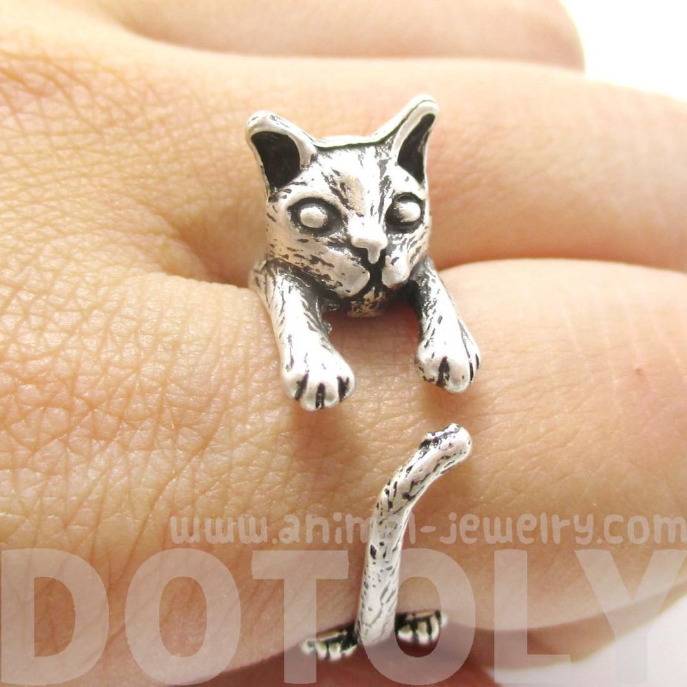 Detailed 3D Kitty Cat Shaped Animal Wrap Ring in Silver