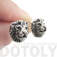 Detailed Lion Face Shaped Stud Earrings in Silver