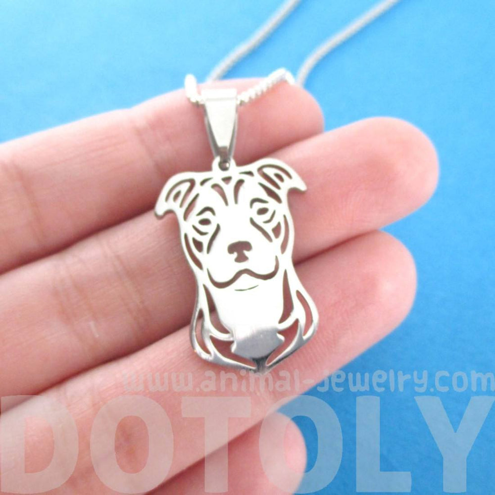 Pitbull dog shaped cut out pendant necklace in silver dotoly pitbull dog shaped cut out pendant necklace in silver aloadofball Choice Image