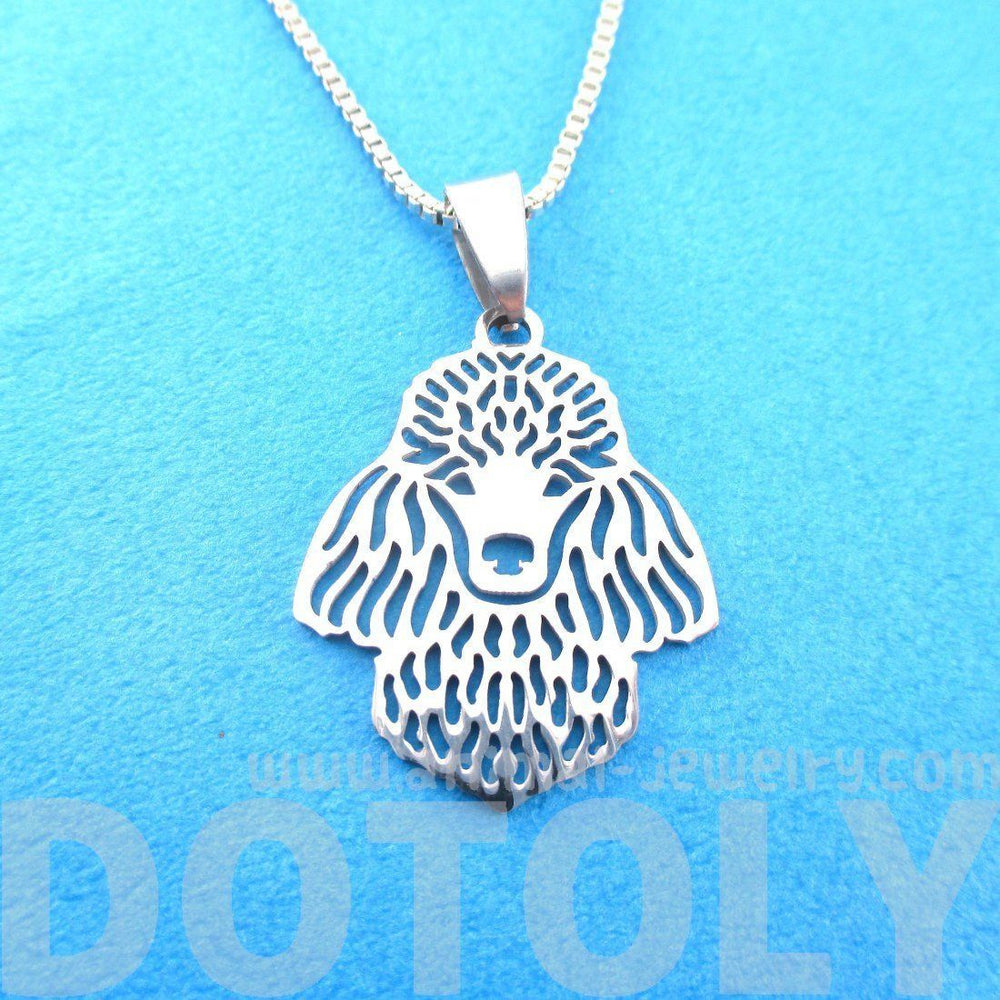French Poodle Shape Cut Out Pendant Necklace in Silver