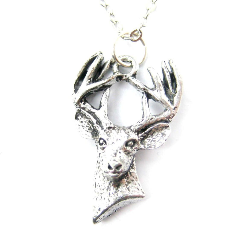 Detailed Stag Deer Head Shaped Animal Charm Necklace | MADE IN USA