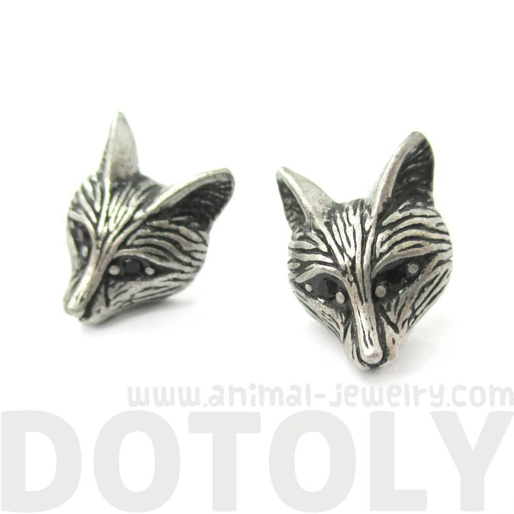 Detailed Wolf Fox Face Shaped Stud Earrings in Silver with Rhinestones