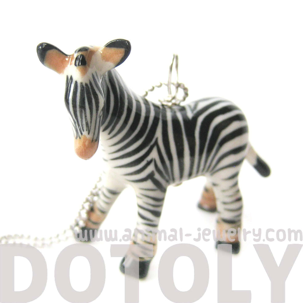 Detailed Zebra Porcelain Ceramic Animal Pendant Necklace | Handmade | DOTOLY