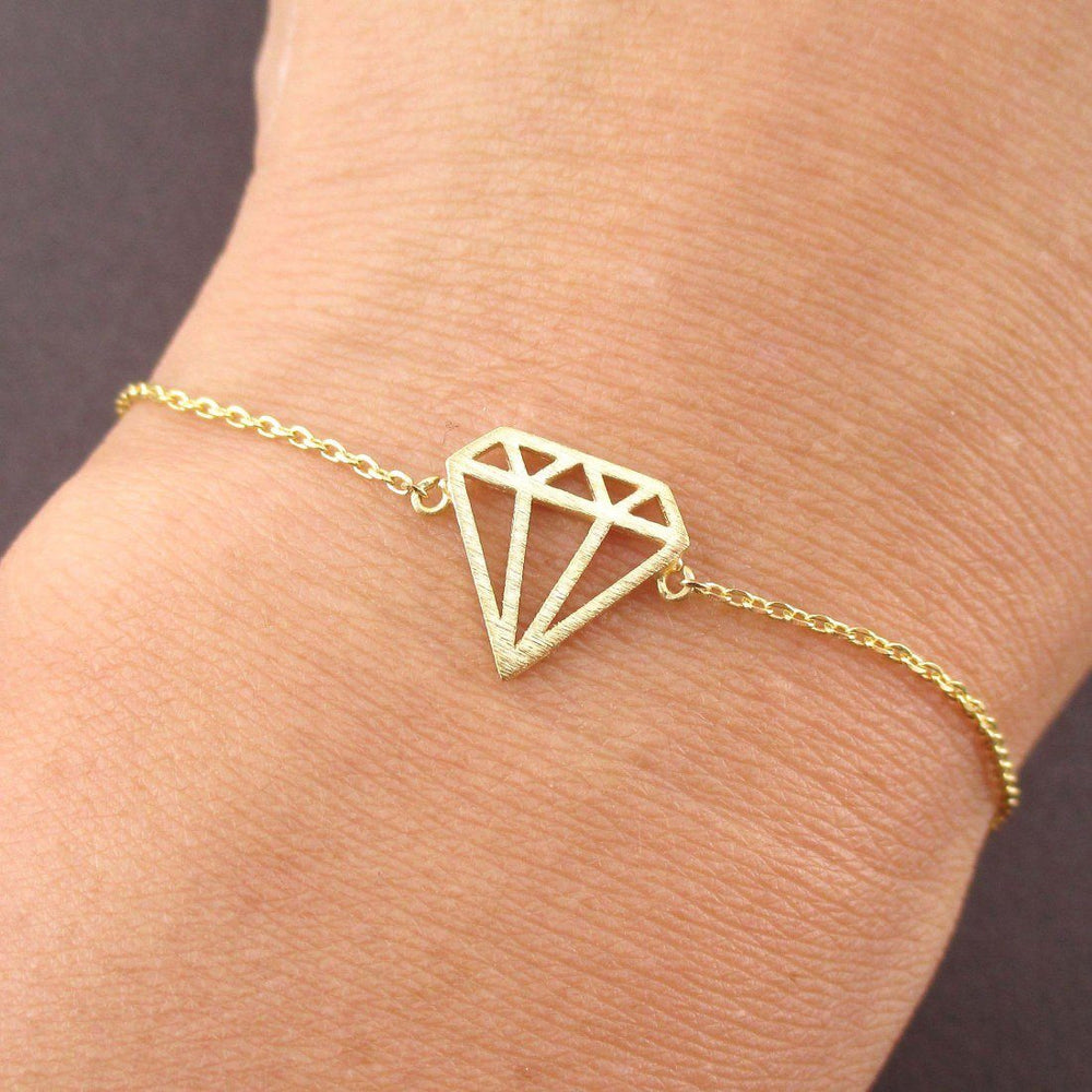 Diamond Outline Shaped Dye Cut Charm Bracelet in Gold | DOTOLY