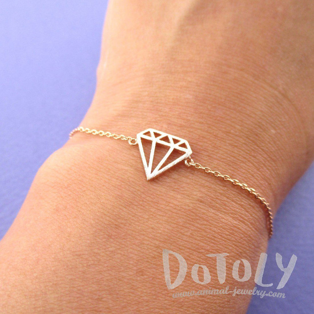 Diamond Outline Shaped Dye Cut Charm Bracelet in Rose Gold | DOTOLY