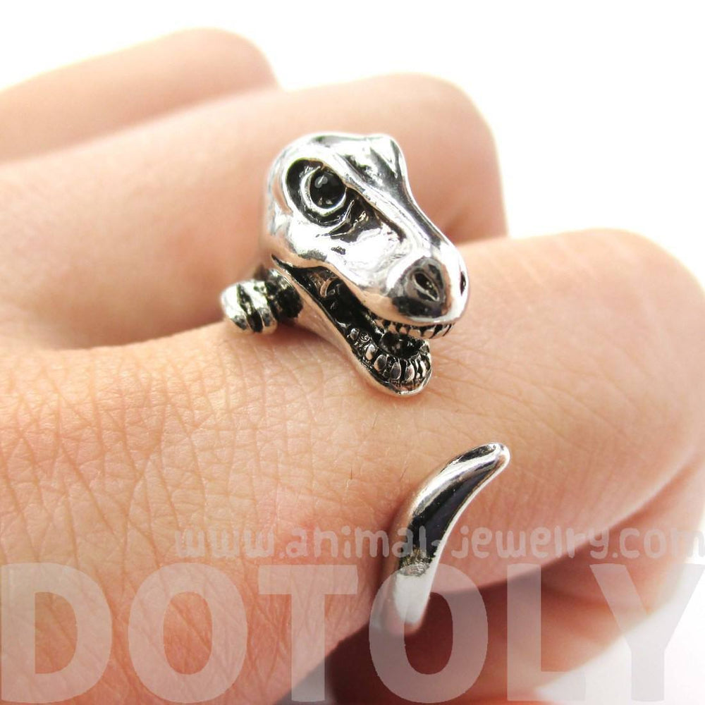 Dinosaur T-Rex Prehistoric Animal Wrap Around Hug Ring in Shiny Silver