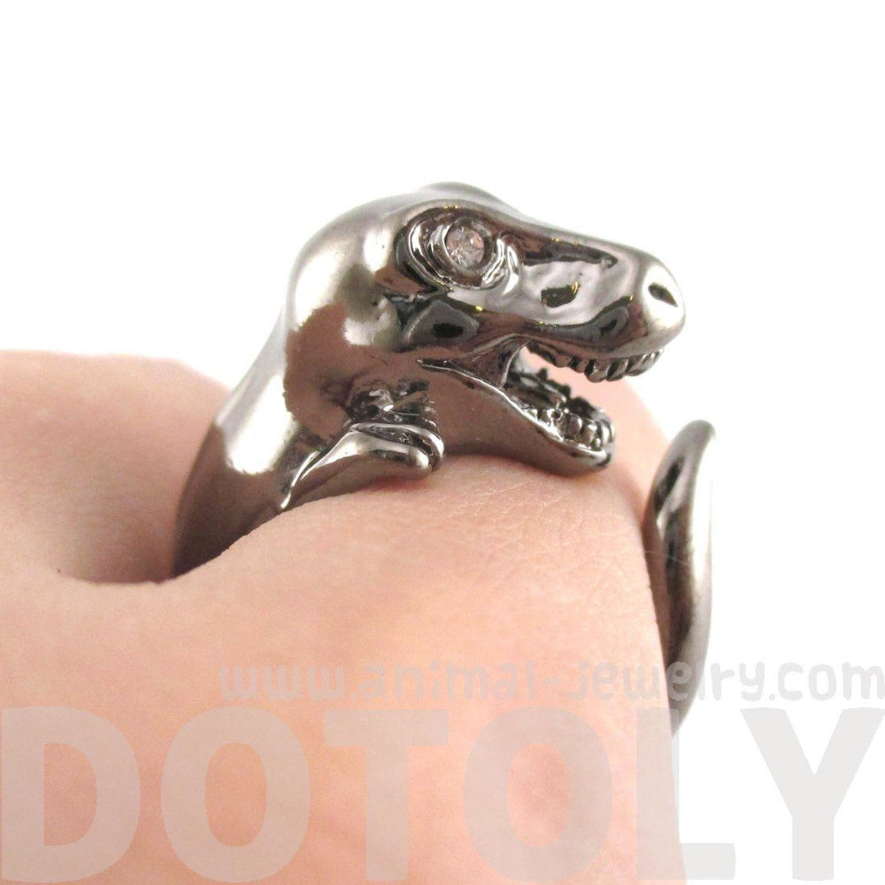 Dinosaur T-Rex Shaped Animal Ring in Gunmetal Silver