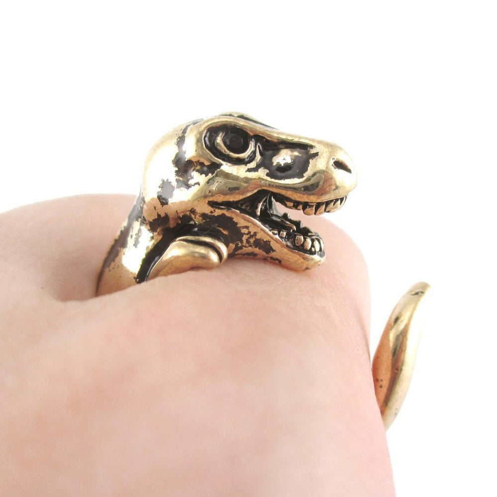 Dinosaur T-Rex Prehistoric Animal Ring in Shiny Gold