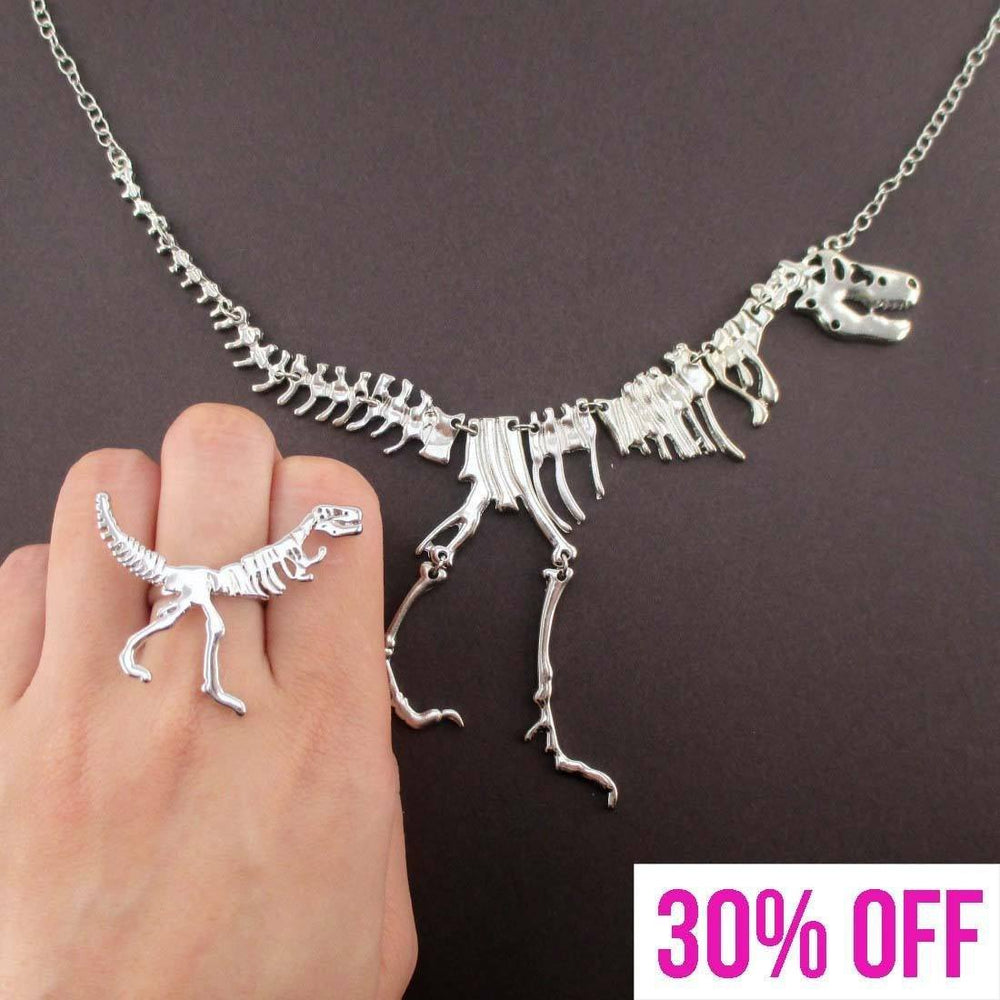 Dinosaur Themed T-Rex Fossil Skeleton Ring and Necklace Set in Silver