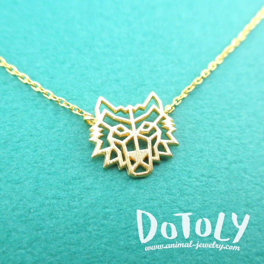 Direwolf Dye Cut Wolf Shaped Pendant Necklace in Gold | DOTOLY