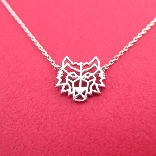 GoT Direwolf Dye Cut Wolf Shaped Pendant Necklace in Silver | DOTOLY