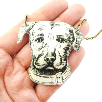 Dog Animal Head Shaped Acrylic Illustrated Pendant Necklace | DOTOLY