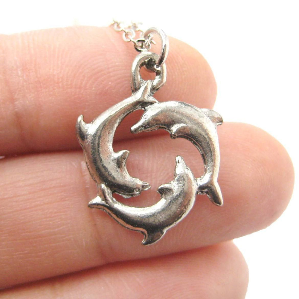 Dolphin Shaped Round Animal Charm Necklace in Silver | MADE IN USA