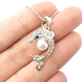 Silver Dolphin Shaped Rhinestone Pearl Pendant Necklace