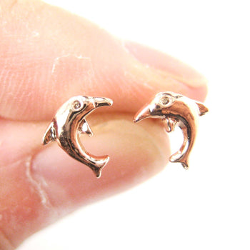 Small Dolphin Fish Sea Animal Stud Earrings in Rose Gold | DOTOLY | DOTOLY
