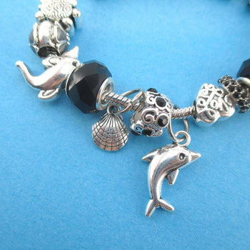 Dolphins Flowers and Sea Turtle Charm Bracelet with Barrel Clasp and Safety Chain | DOTOLY