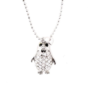 Dorky Baby Penguin Shaped Pendant Necklace in Silver | Animal Jewelry
