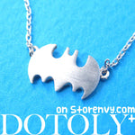 Bat Silhouette Symbol Batman Logo Pendant Necklace in Silver | DOTOLY