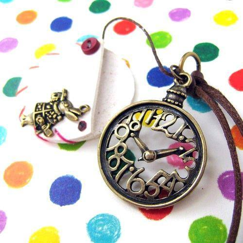 Alice in Wonderland Inspired Pocket Watch Pendant Necklace in White | DOTOLY