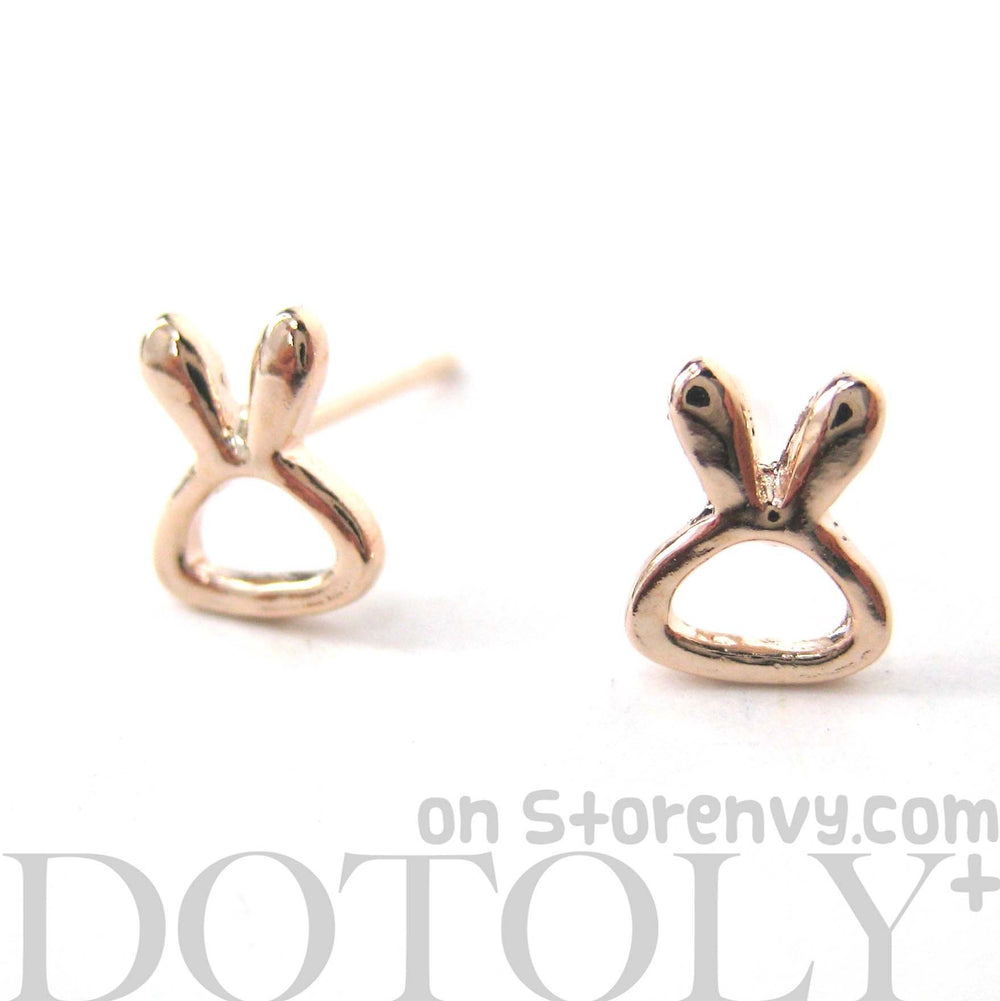 Tiny Bunny Rabbit Outline Animal Themed Stud Earrings in Rose Gold | DOTOLY
