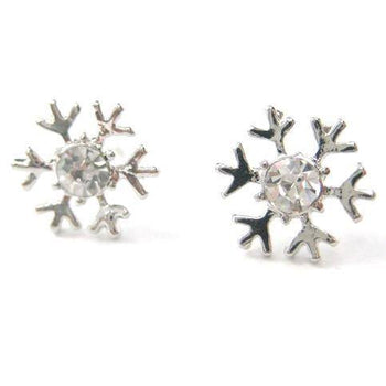 Unique Snowflake Shaped Stud Earrings in Silver with Rhinestones | DOTOLY | DOTOLY