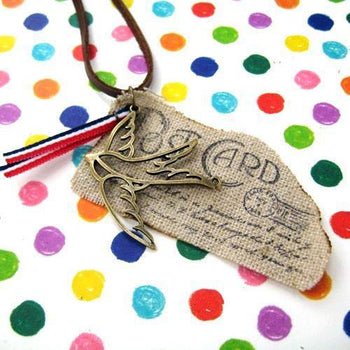 Unique Post Card Ink Print Airmail Pendant Necklace with Bird | DOTOLY