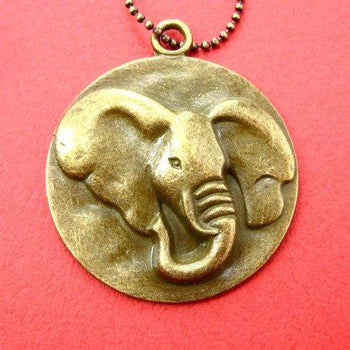 Unique Elephant Animal Charm Medallion Necklace in Bronze | DOTOLY