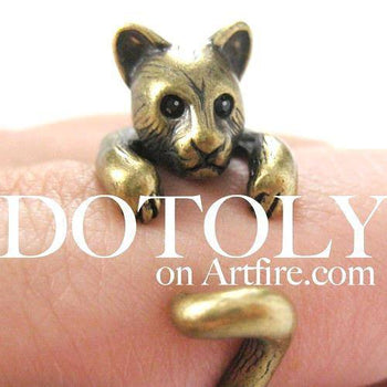3D Kitty Cat Animal Wrap Around Ring in Brass in US Size 5 to Size 9 | DOTOLY
