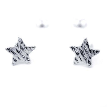 Small Star Shaped Stud Earrings with Textured Details in Silver | DOTOLY