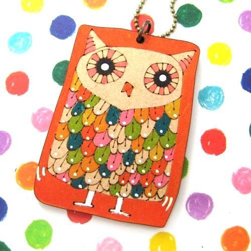 Owl Bird Animal Hand Drawn Pendant Necklace in Orange Ink on Wood | DOTOLY