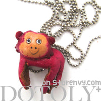 Faux Leather Cute Monkey Animal Charm Necklace with Mobile Strap | DOTOLY