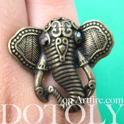 Adjustable Elephant Shaped Animal Ring in Brass with Textured Detail | DOTOLY | DOTOLY