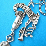 Ballerina Musical Notes and Instruments Saxophone Pendant Necklace in Silver | DOTOLY