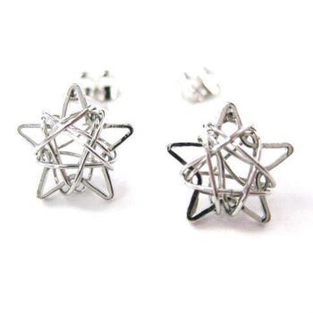 Unique 3D Star Shaped Wire Wrapped Stud Earrings in Silver | DOTOLY