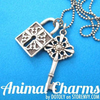 Lock and Key Pendant Necklace with Pattern Detail in Silver on SALE | DOTOLY