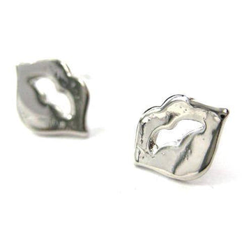 Rolling Stones Lips and Tongue Shaped Stud Earrings in Silver | DOTOLY