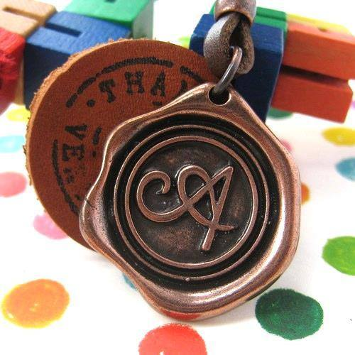 Antique Wax Seal Ink Stamp Leather Pendant Necklace | DOTOLY